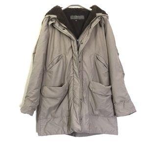 Zara beige lined thick utility jacket hood parka L